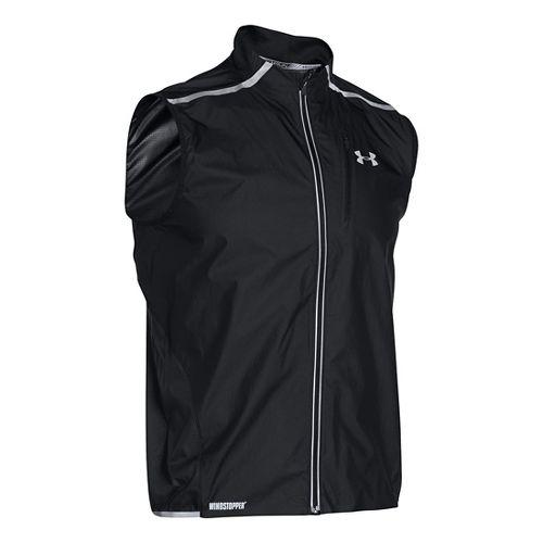 Mens Under Armour Storm Windstopper Run Vests Jackets - Black/Reflective L