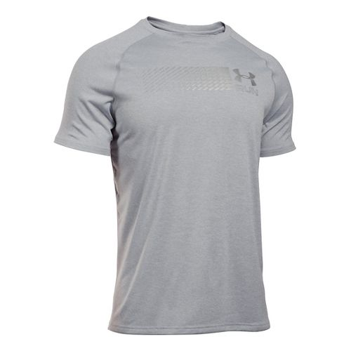 Mens Under Armour Run Printed Graphic T Short Sleeve Technical Tops - Air Force Grey ...