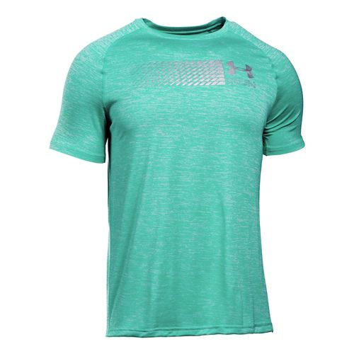 Mens Under Armour Run Printed Graphic T Short Sleeve Technical Tops - Green Malachite XS ...