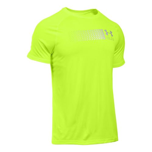 Mens Under Armour Run Printed Graphic T Short Sleeve Technical Tops - Fuel Green L-R ...