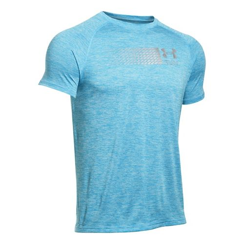 Mens Under Armour Run Printed Graphic T Short Sleeve Technical Tops - Meridian Blue M-R ...