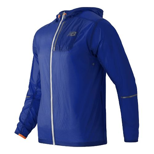 Mens New Balance Lite Packable Rain Jackets - Marine Blue L