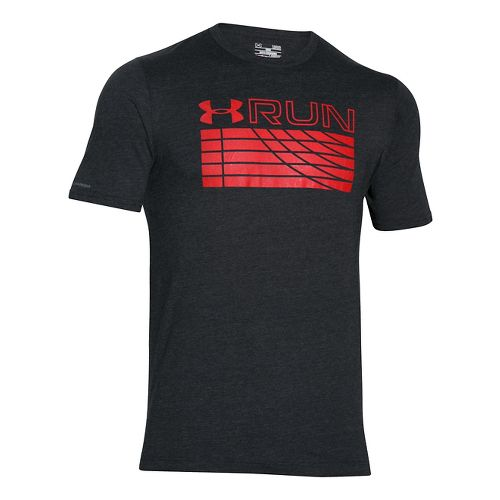 Mens Under Armour Run Track Graphic T Short Sleeve Technical Tops - Black XS-R