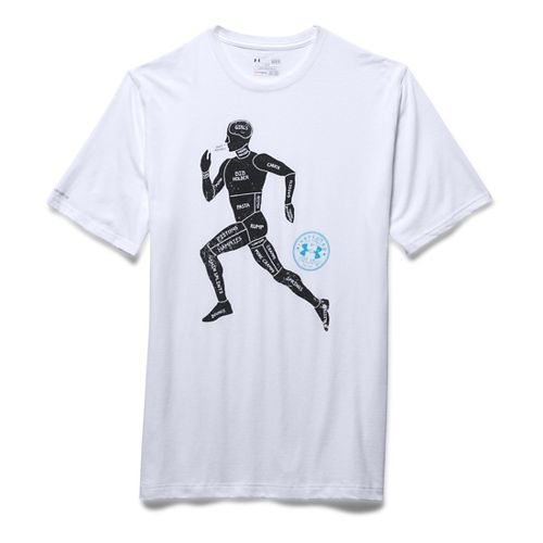 Mens Under Armour Run Graphic Figure T Short Sleeve Technical Tops - White L-R