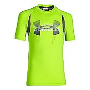 Kids Under Armour Boys HeatGear Armour Up Digi Fitted Shirt Short Sleeve Technical Tops