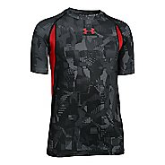 Kids Under Armour Boys HeatGear Armour Up Printed Fitted Shirt Short Sleeve Technical Tops