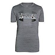 Kids Under Armour Boys Big Logo Hybrid T Short Sleeve Technical Tops