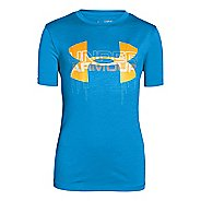 Kids Under Armour Boys Big Logo Hybrid T Short Sleeve Technical Tops