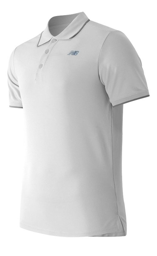Mens New Balance Challenger Classic Polo Short Sleeve Technical Tops - White L