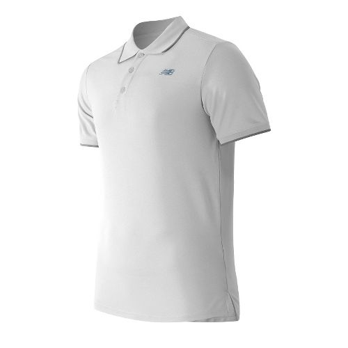 Mens New Balance Challenger Classic Polo Short Sleeve Technical Tops - White XXL