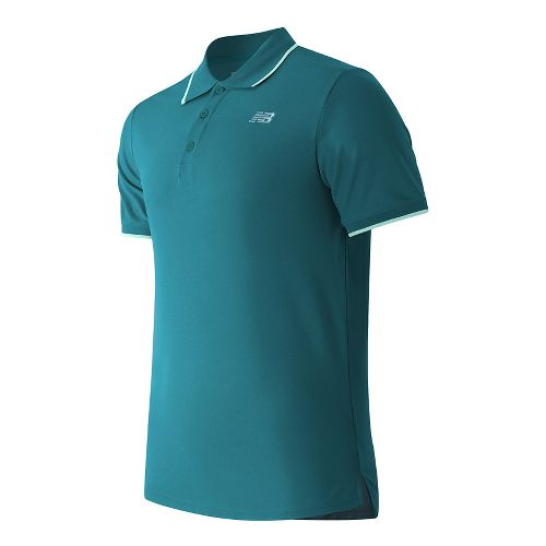 Mens New Balance Challenger Classic Polo Short Sleeve Technical Tops - Lake Blue XL