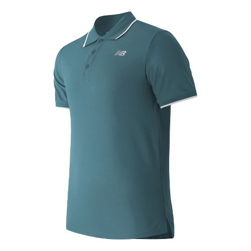 Mens New Balance Challenger Classic Polo Short Sleeve Technical Tops - Riptide M