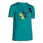 Under Armour Boys Rising Pixilated Logo T Short Sleeve Technical Tops