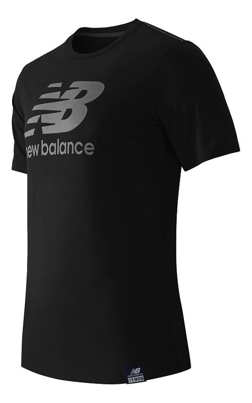 Mens New Balance Essentials Plus Logo Tee Short Sleeve Technical Tops - Black M
