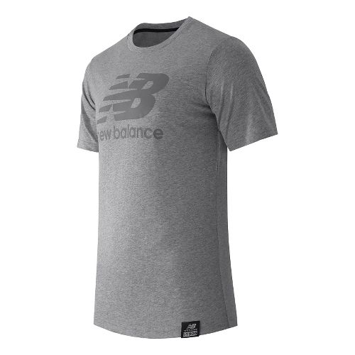 Mens New Balance Essentials Plus Logo Tee Short Sleeve Technical Tops - Athletic Grey M ...