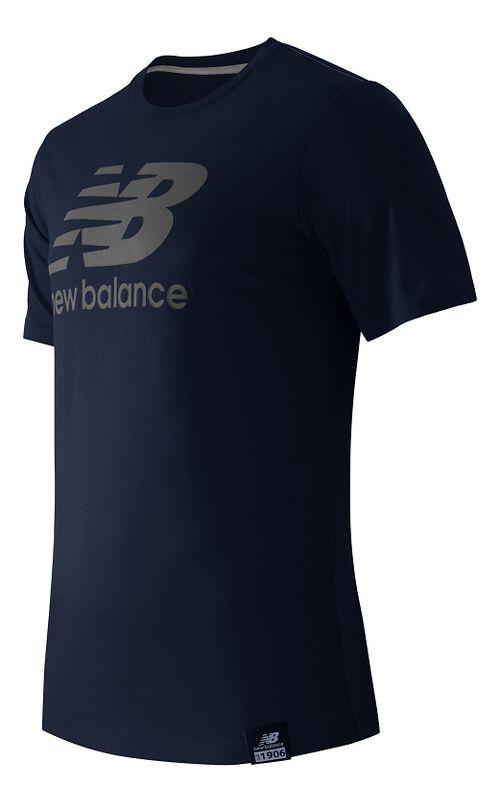 Mens New Balance Essentials Plus Logo Tee Short Sleeve Technical Tops - Navy S