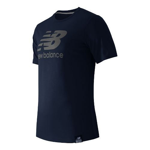 Mens New Balance Essentials Plus Logo Tee Short Sleeve Technical Tops - Navy S