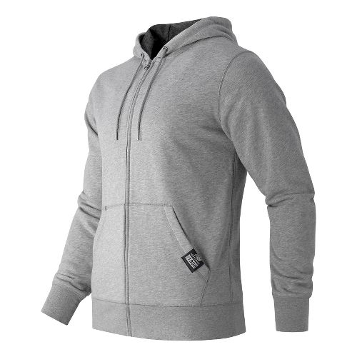 Mens New Balance Full Zip Fleece Hoodie & Sweatshirts Technical Tops - Athletic Grey S ...