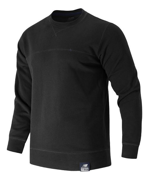 Mens New Balance Crew Neck Hoodie & Sweatshirts Technical Tops - Black M