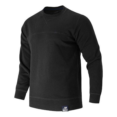 Mens New Balance Crew Neck Hoodie & Sweatshirts Technical Tops - Black M