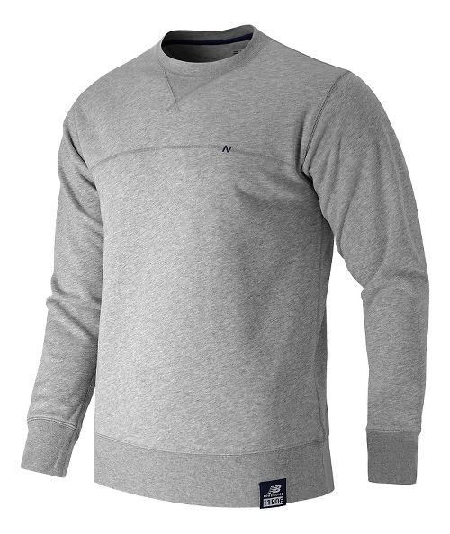 Mens New Balance Crew Neck Hoodie & Sweatshirts Technical Tops - Athletic Grey M