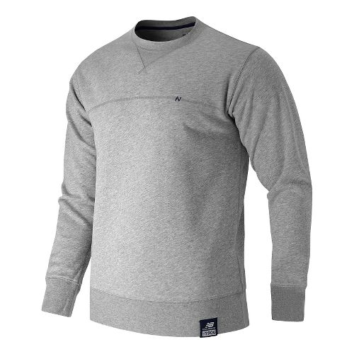 Mens New Balance Crew Neck Hoodie & Sweatshirts Technical Tops - Athletic Grey S