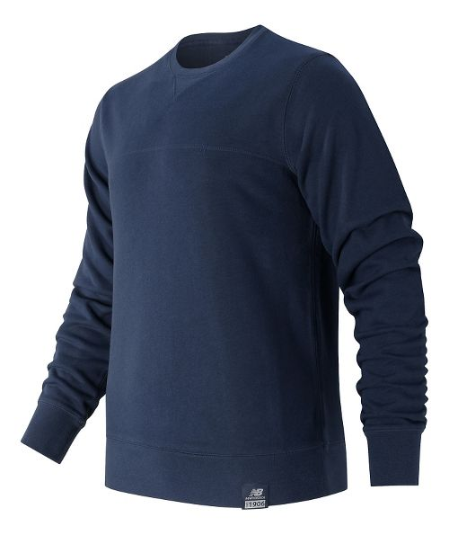 Mens New Balance Crew Neck Hoodie & Sweatshirts Technical Tops - Navy M