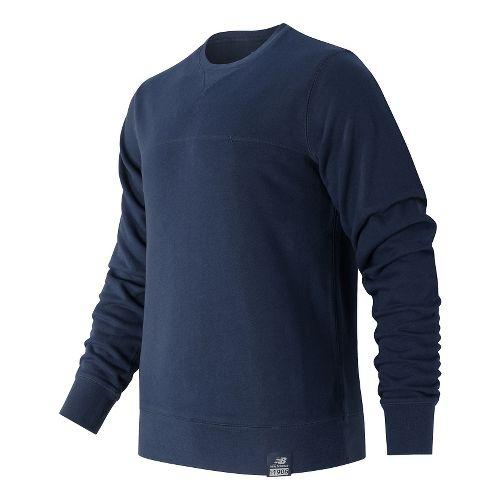 Mens New Balance Crew Neck Hoodie & Sweatshirts Technical Tops - Navy L
