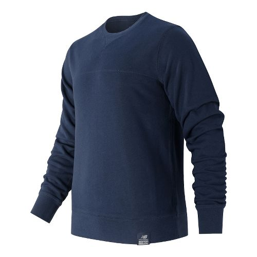 Mens New Balance Crew Neck Hoodie & Sweatshirts Technical Tops - Navy S