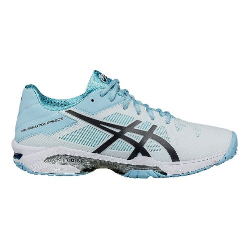 Womens ASICS GEL-Solution Speed 3 Court Shoe - White/Blue 8.5