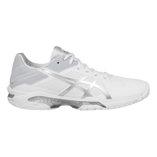 Womens ASICS GEL-Solution Speed 3 Court Shoe - White/Silver 10.5