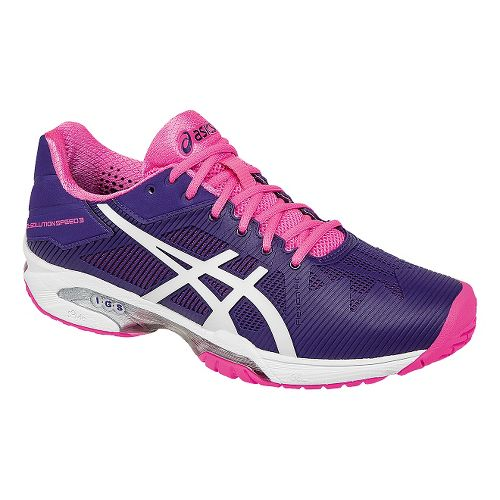 Womens ASICS GEL-Solution Speed 3 Court Shoe - Purple/Pink 7.5