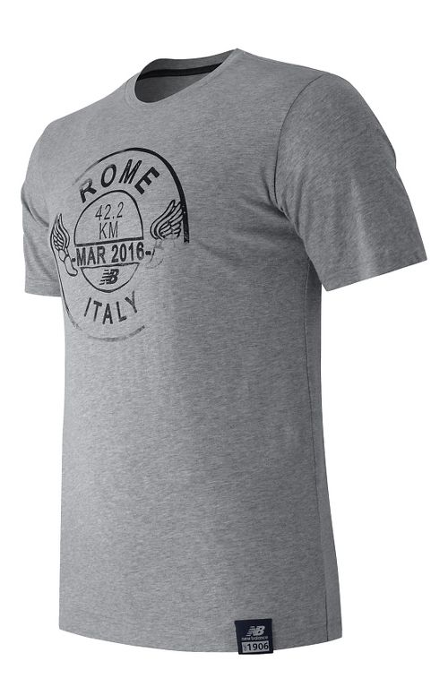 Mens New Balance Passport Tee Short Sleeve Technical Tops - Athletic Grey L