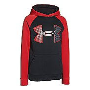 Kids Under Armour Boys Storm 1 Armour Fleece Jumbo Logo Hoodie & Sweatshirts Technical Tops