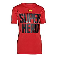 Kids Under Armour Superman VS Batman Flip T Short Sleeve Technical Tops