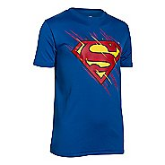 Kids Under Armour Boys Team Superman T Short Sleeve Technical Tops