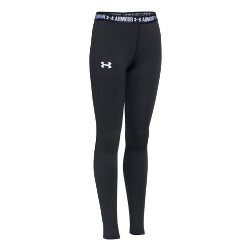 Under Armour Girls Armour Tights & Leggings Pants - Black/Black/White YXS