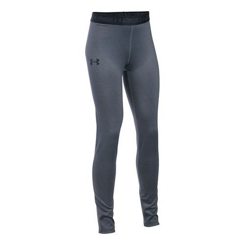 Under Armour Girls Printed Armour Tights & Leggings Pants - Stealth Grey/Black YXL