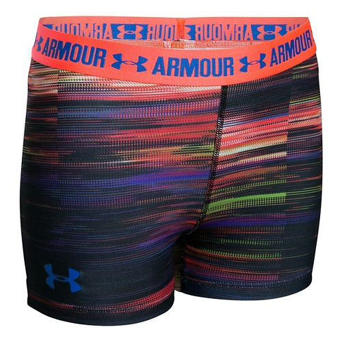 Under Armour Girls 3'' Printed Armour Shorty Compression & Fitted Shorts - Pink YXS