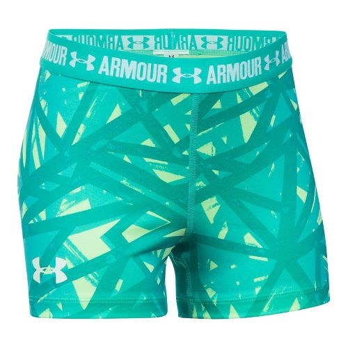Under Armour Girls 3'' Printed Armour Shorty Compression & Fitted Shorts - Lime/Absinthe YL