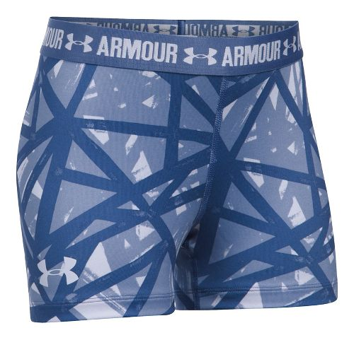 Under Armour 3'' Printed Shorty Compression & Fitted Shorts - Lavender/Periwinkle YL