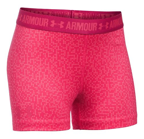 Under Armour Girls 3'' Printed Shorty Compression & Fitted Shorts - Gala/Honeysuckle YL
