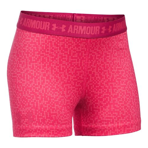 Under Armour Girls 3'' Printed Armour Shorty Compression & Fitted Shorts - Gala/Honeysuckle YXL