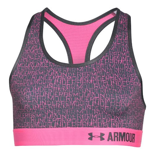 Under Armour Girls Novelty Armour Sports Bras - Stealth Grey/Pink YL