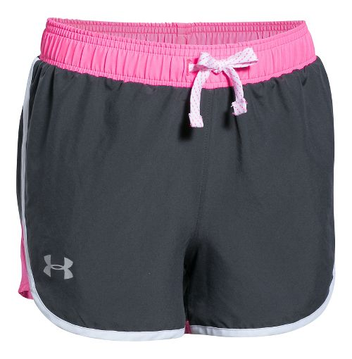 Under Armour Girls Fast Lane Unlined Shorts - Grey/Pink Punk YL