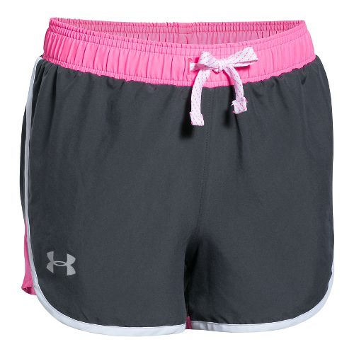 Under Armour Girls Fast Lane Unlined Shorts - Grey/Pink Punk YXS