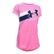 Under Armour Girls Novelty Big Logo T Short Sleeve Technical Tops