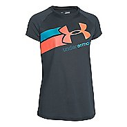 Kids Under Armour Girls Fast Lane Big Logo Tech T Short Sleeve Technical Tops