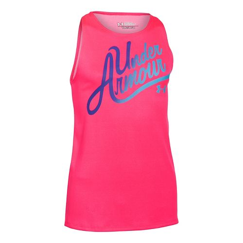 Under Armour Girls Aloha Wordmark Sleeveless & Tank Technical Tops - Harmony Red/Pink YM