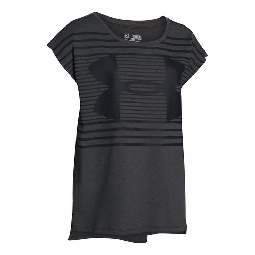 Under Armour Girls Favorite T Short Sleeve Technical Tops - Carbon Heather YL